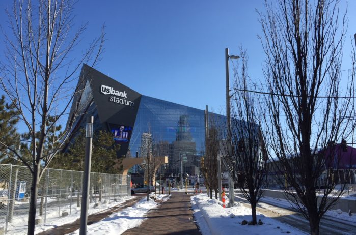 Minneapolis reflected in US Bank Stadium, site of Super Bowl LII