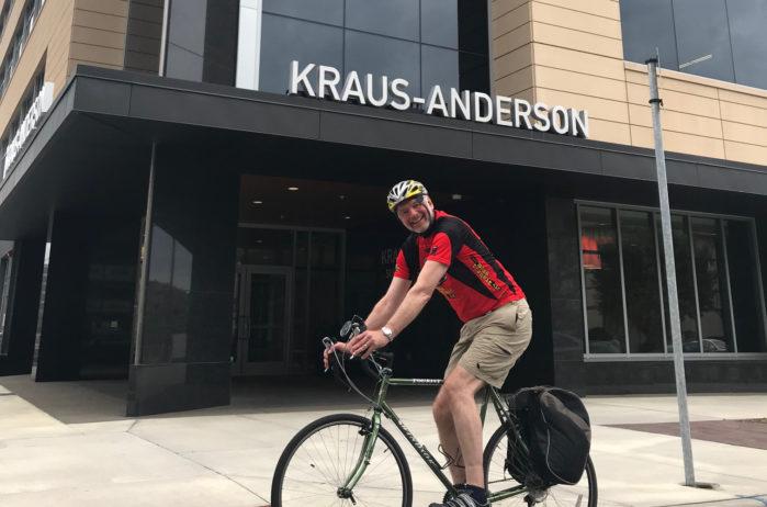 Mike Benz arrives at work on his bike Biking Minneapolis
