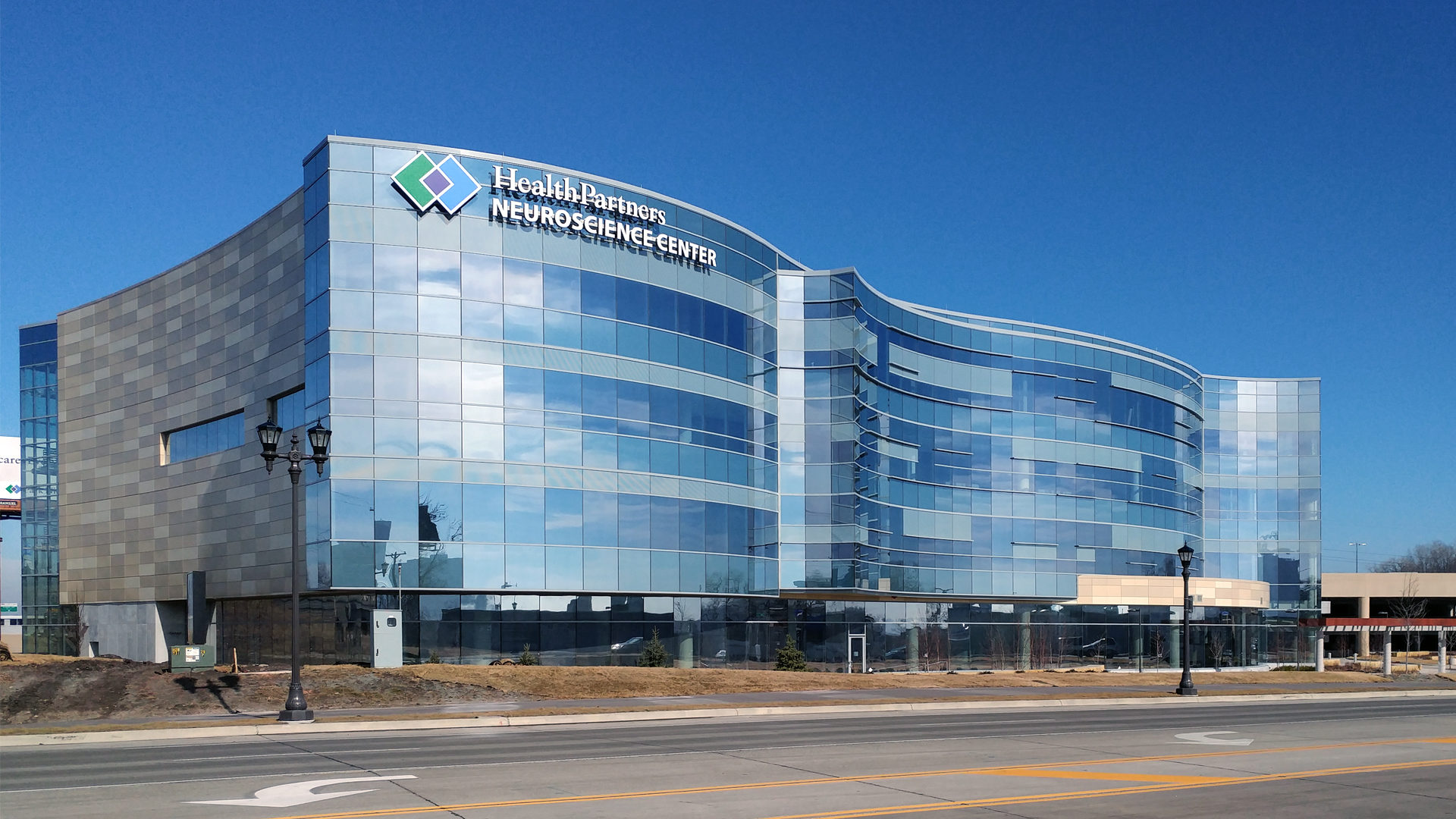 HealthPartners Neuroscience Center Exterior View of Glass Facade